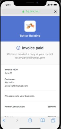 Square Virtual Terminal screenshot: Square Virtual Terminal invoice