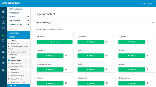 When creating an events website users can add an unlimited number of pages