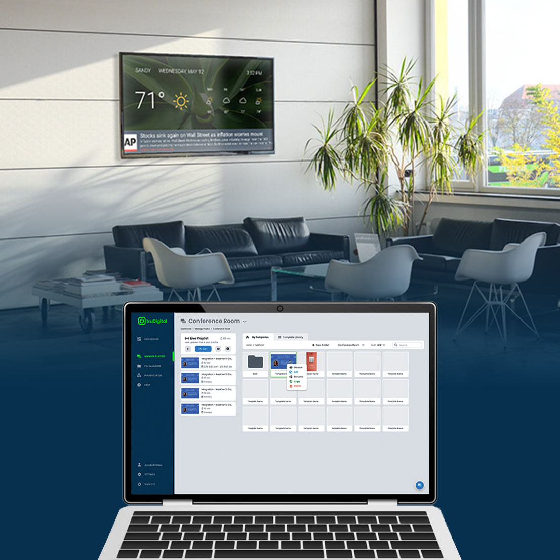 Control the content on your TV screens from anywhere.