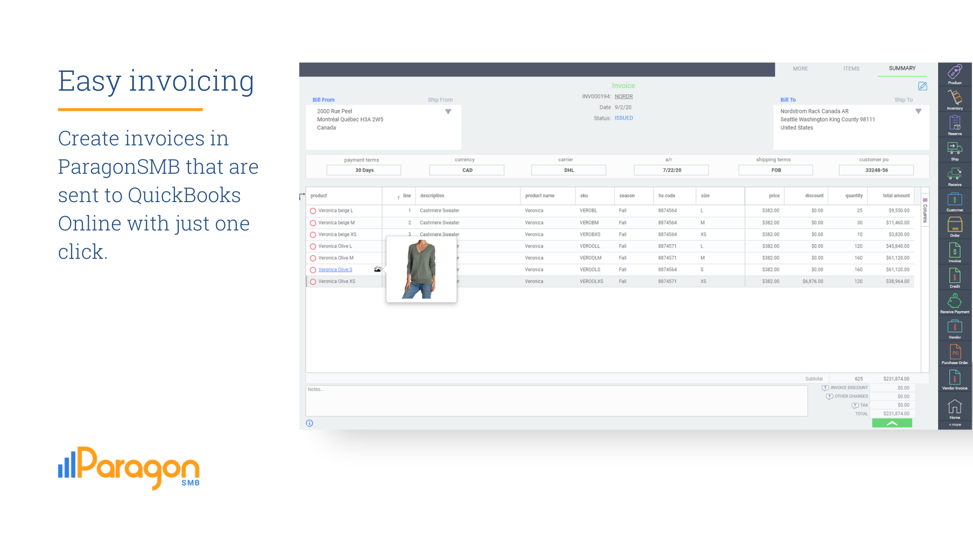 Software screen that shows an invoice that is ready to be sent to QuickBooks Online.