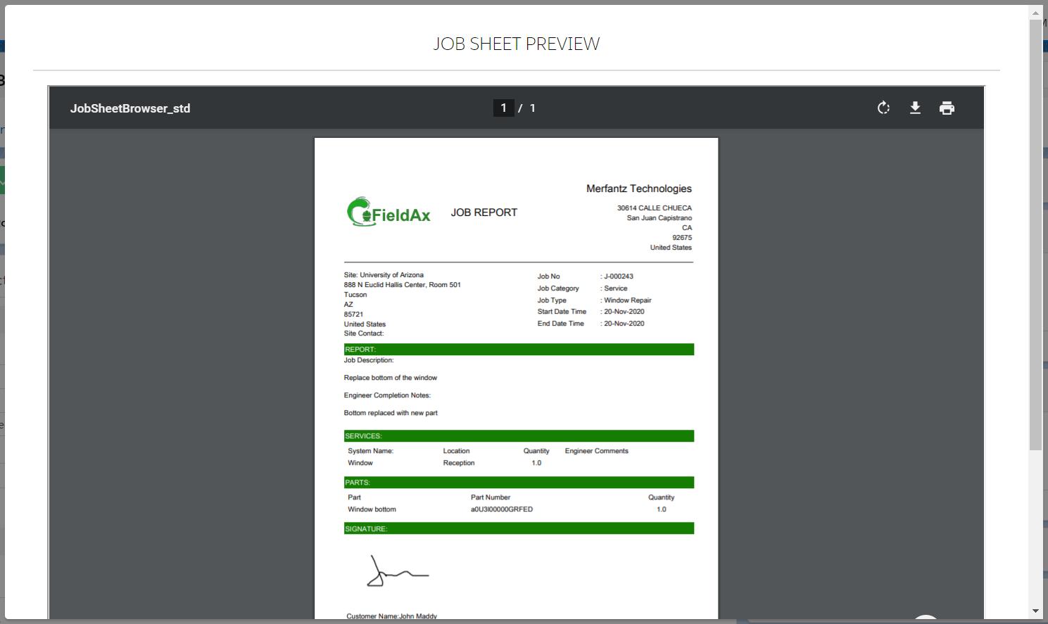 Job Report/Sheet