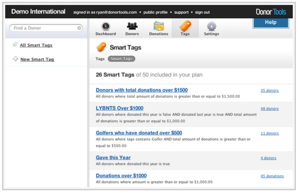 Donor Tools Software - Tag donors