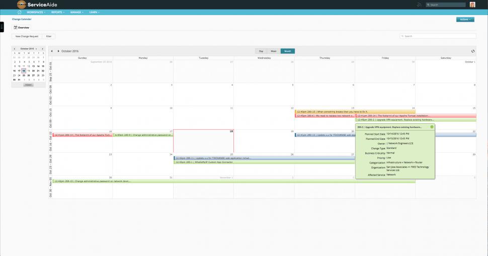 Intelligent Service Management Software - Change calendar