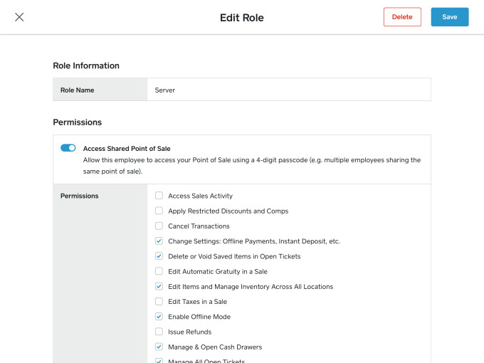Users can assign custom access permissions to different roles