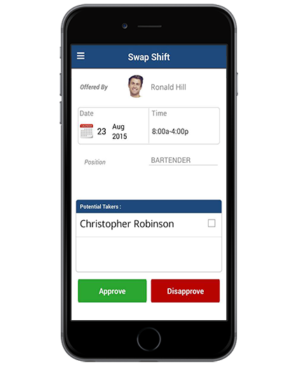 Managers can approve or disapprove shift swap requests from the web or any mobile device