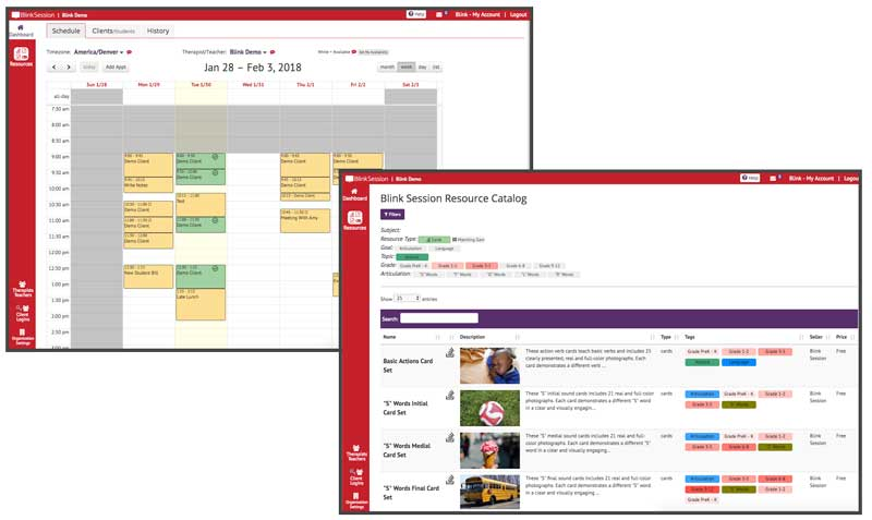 With Blink Session users can view schedules, arrange appointments, and access a full resource catalog