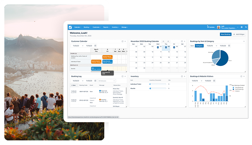 Say goodbye to spreadsheets. Keep track of your bookings in a centralized dashboard. Add or change reservations, leave notes for staff, manage your inventory, and get real-time insight into your business.