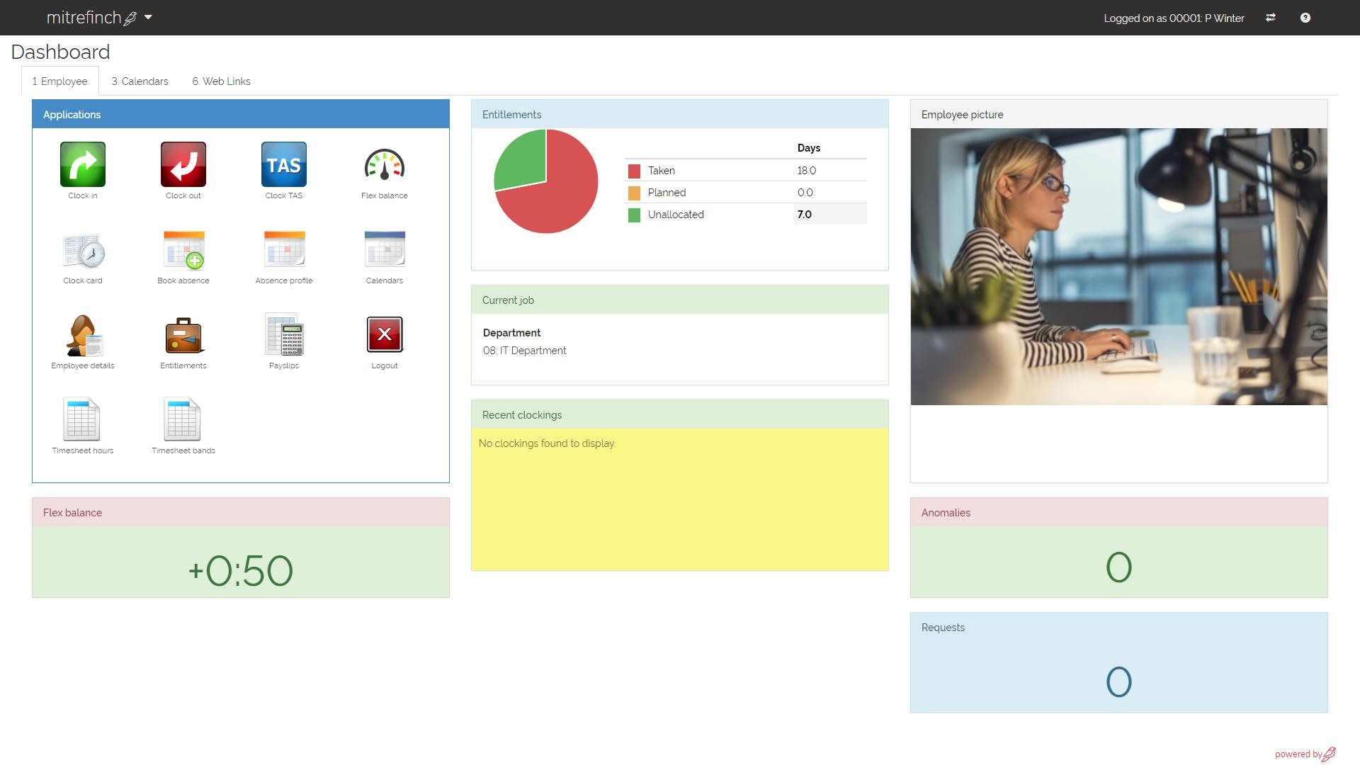 Mitrefinch Software - Employee dashboard