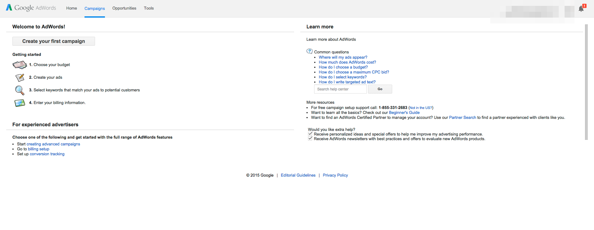 Set up your campain in Google AdWords