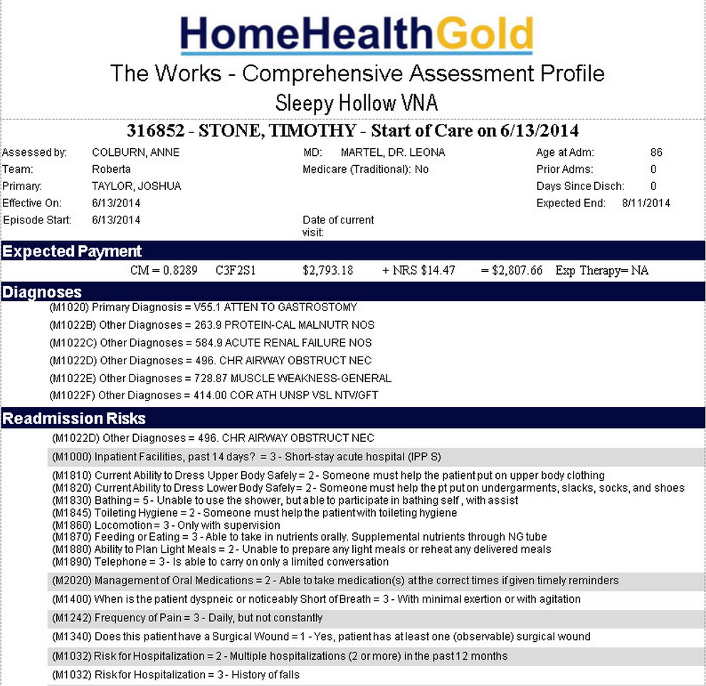 Home Health Gold Software - Assessment profile