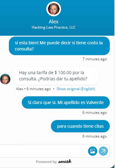 Smith.ai english to spanish translation screenshot