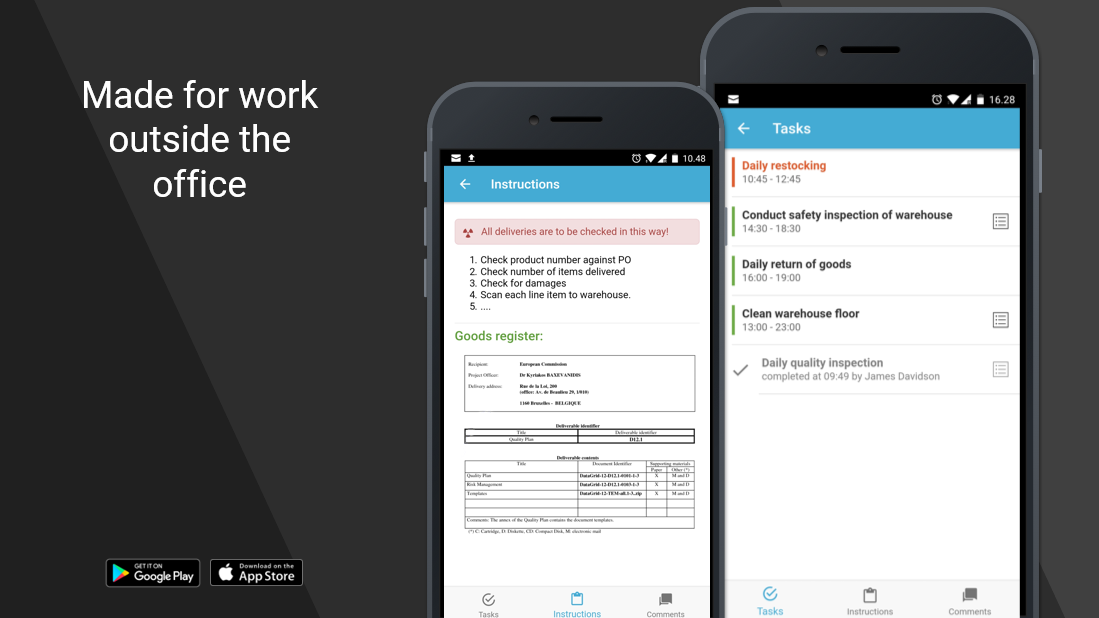 Native Android and iOS apps: Get your work instructions, tasks and forms out to first line workers.