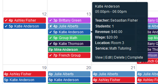 The logging and tracking of detailed records for each lesson includes information such as attendance status, teacher, students, revenue, wage, location, service / subject etc