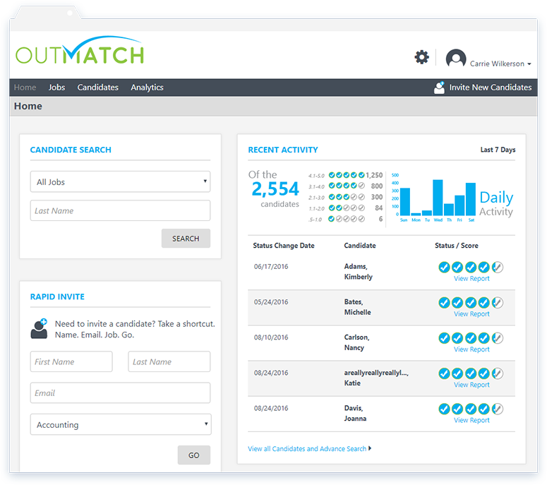 Outmatch's talent assessment features include candidate search fields, controls for sending rapid candidate invites, plus recent activity summary