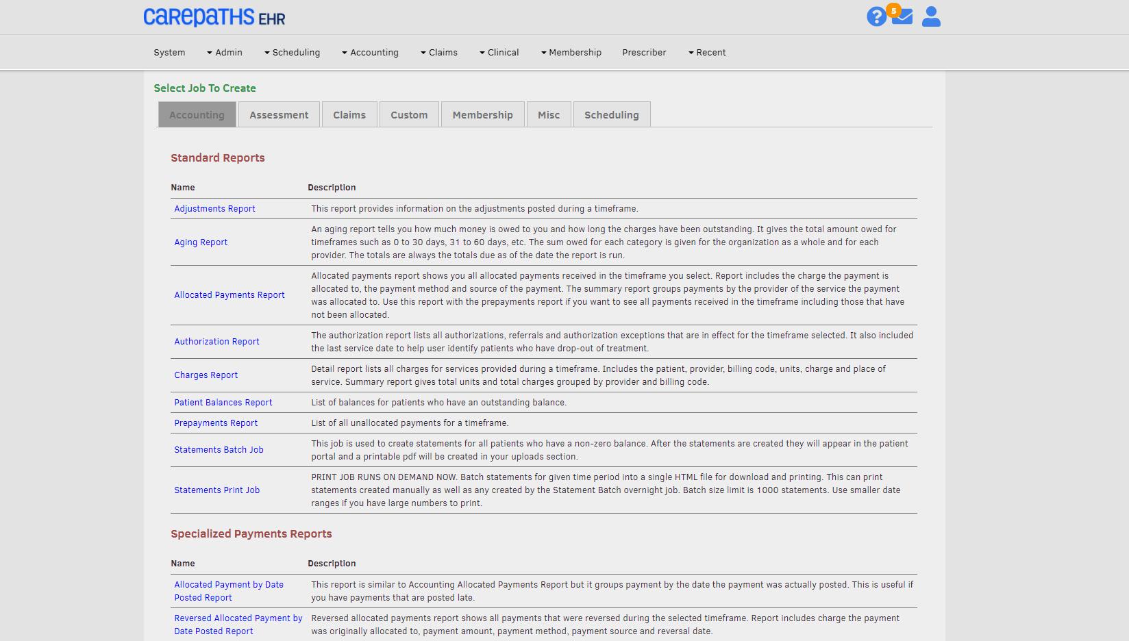 CarePaths EHR Software - Reporting Portal