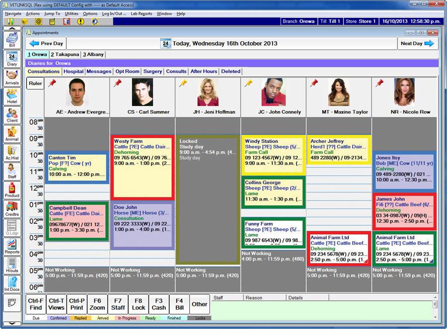 VETLINKSQL screenshot: VetLinkSQL appointment scheduling