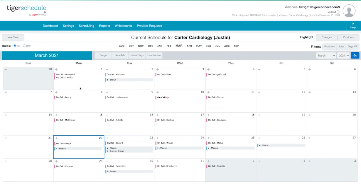 TigerSchedule desktop view provides multiple fast and easy ways for admins to set up schedules -- including automatically based on custom, configurable rules.