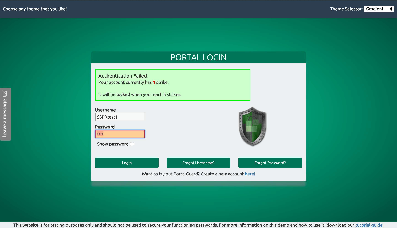 PortalGuard authentication failure