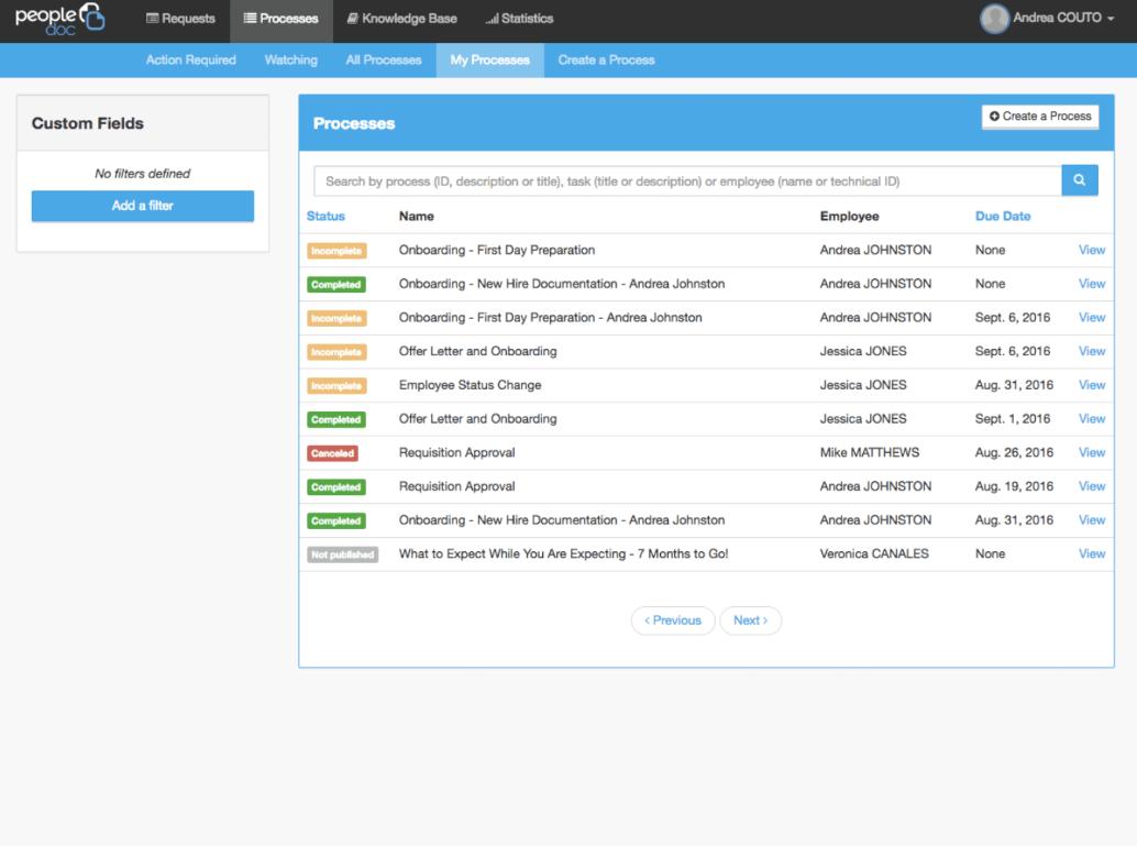 PeopleDoc screenshot: PeopleDoc HR processes