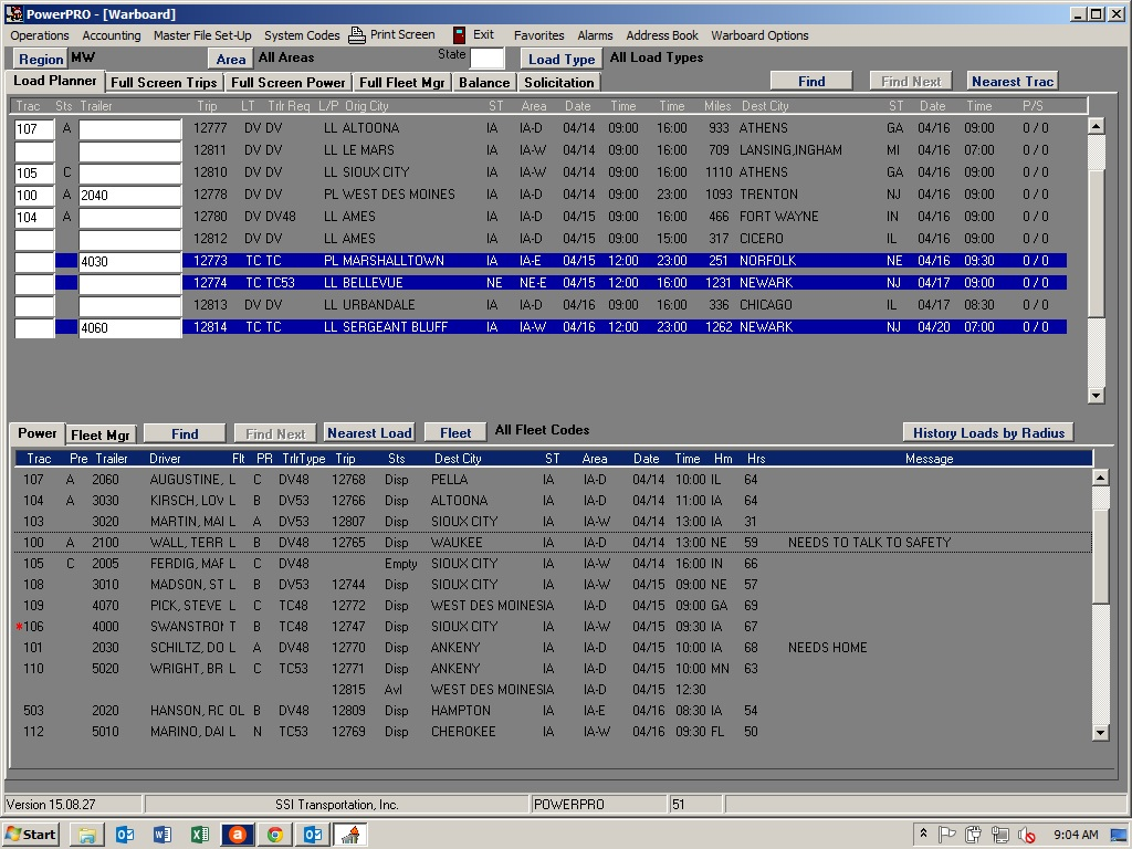 PowerPRO Software - Dispatch warboard