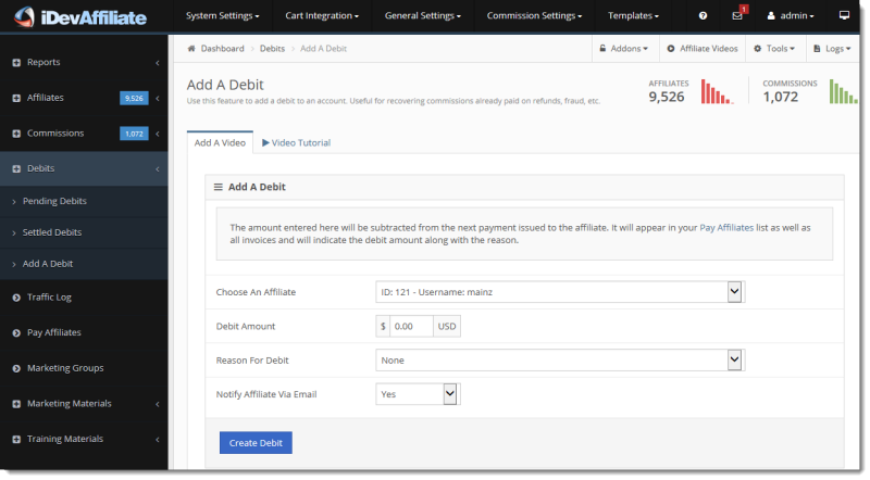 Users can add debits to affiliates' accounts, to be subtracted from their next payment through iDevAffiliate