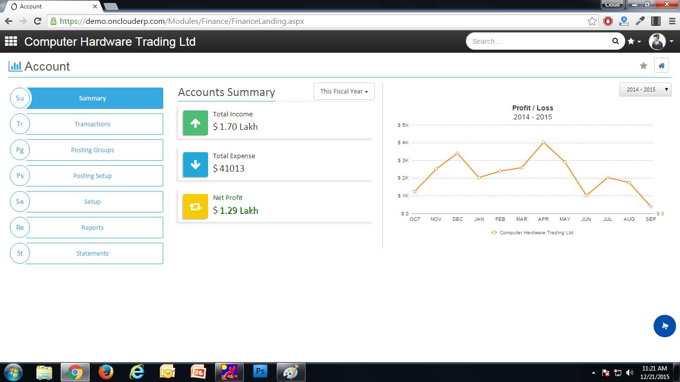 onclouderp screenshot: OnCloudERP accounts summary screenshot