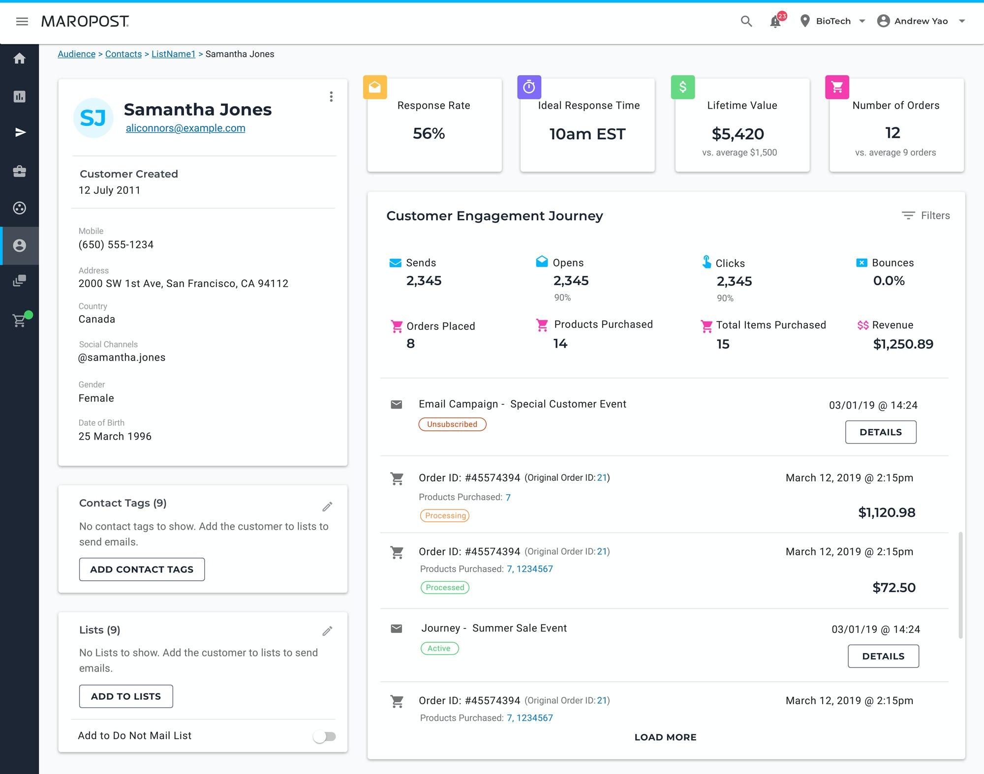Maropost Software - 360° View Customer Dashboard