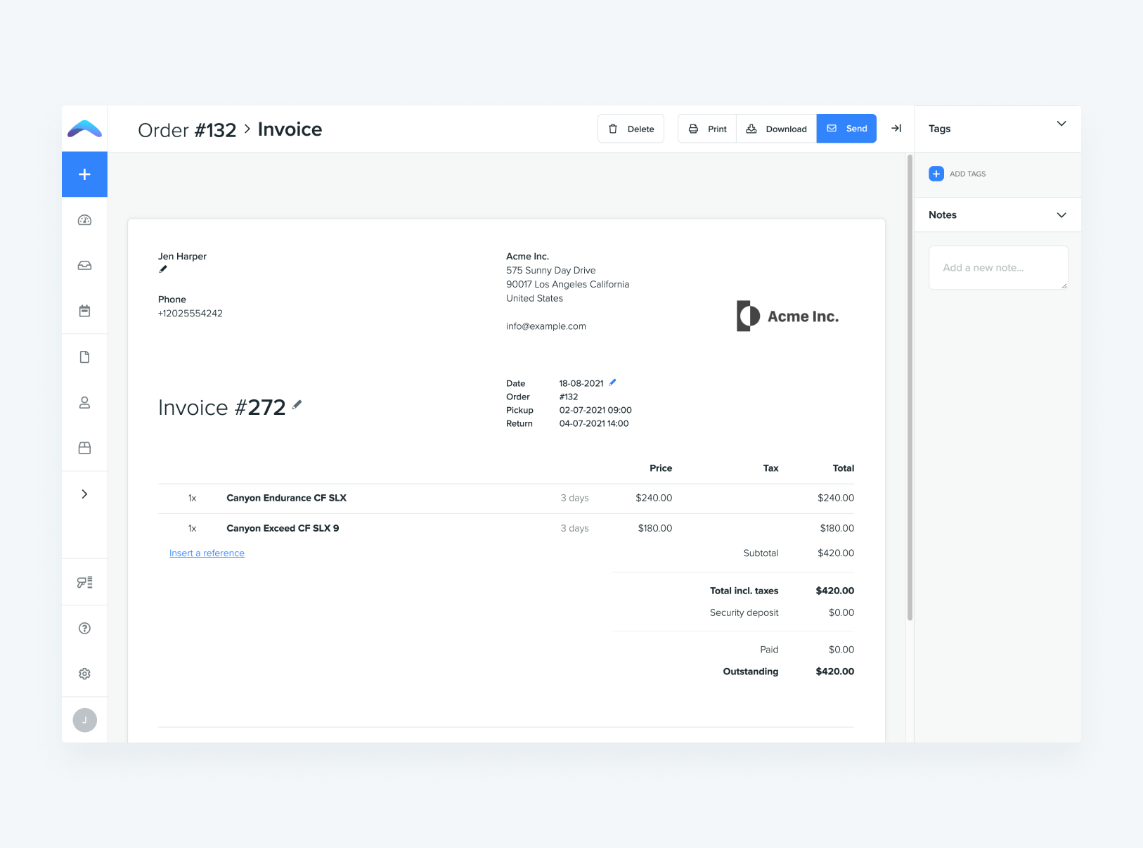 Booqable Software - Turn orders into quotes, contracts, and invoices, and send them to your customers directly from Booqable.
