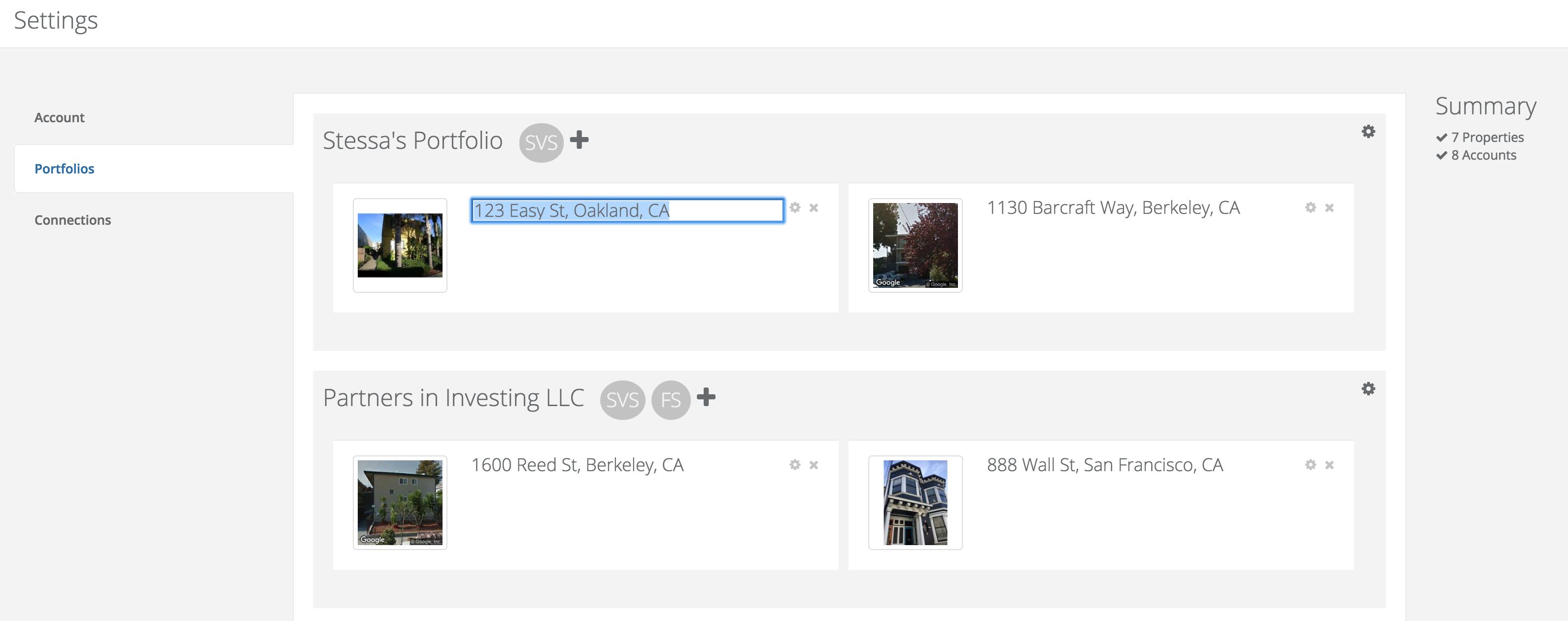 Update property addresses, names, and edit portfolios