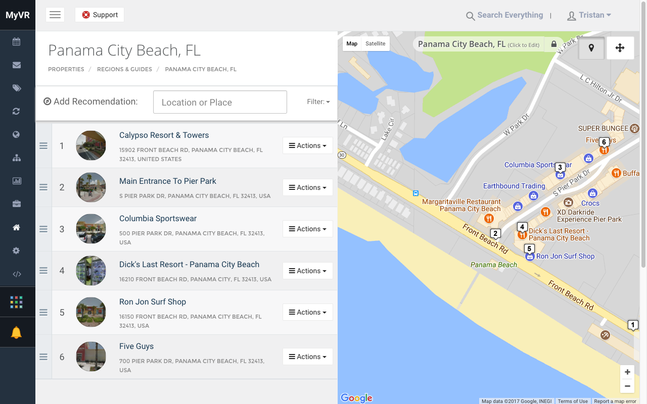 MyVR offers an interactive map view of your properties and the area surrounding them.