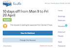 Bindle screenshot: The full history of approved, pending, and rejected time-off requests can be accessed by users in Bindle