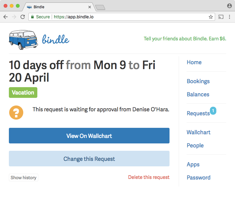 The full history of approved, pending, and rejected time-off requests can be accessed by users in Bindle