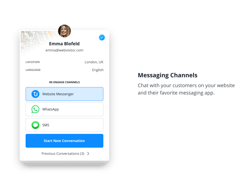 Connect with your customers on the mobile apps they use everyday. WhatsApp Business, Facebook Messenger, Telegram, Threema and SMS.