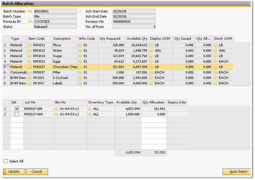 BatchMaster ERP Software - BatchMaster ERP batch job allocation