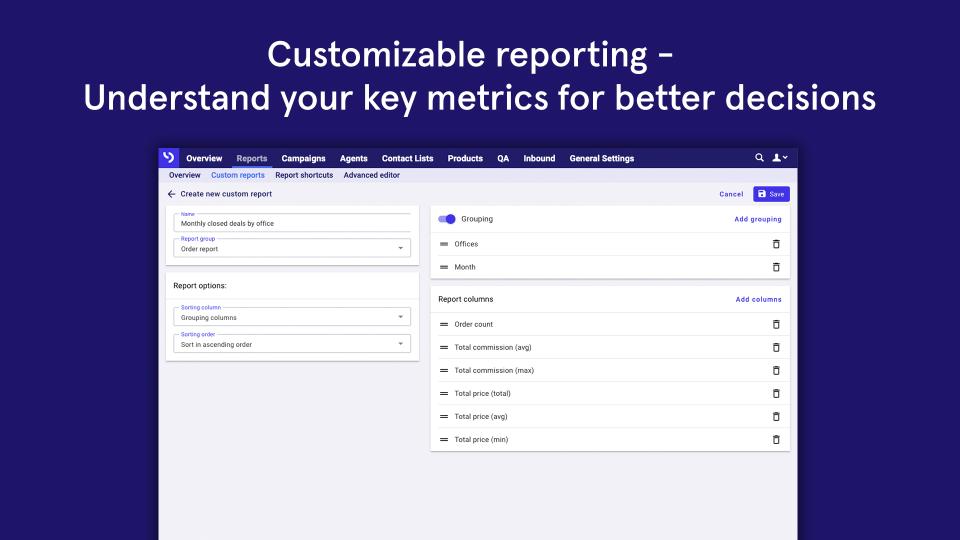 Customizable reporting
