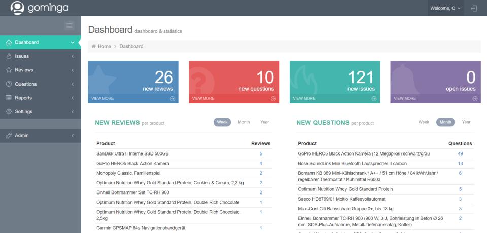 gominga dashboard & statistics
