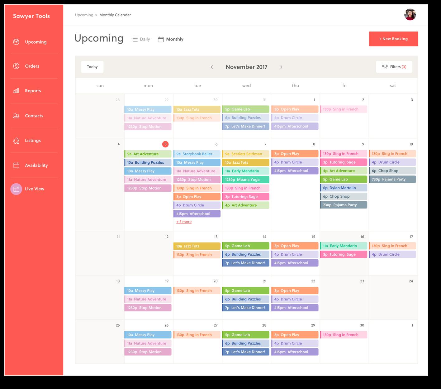 Sawyer screenshot: Class scheduling