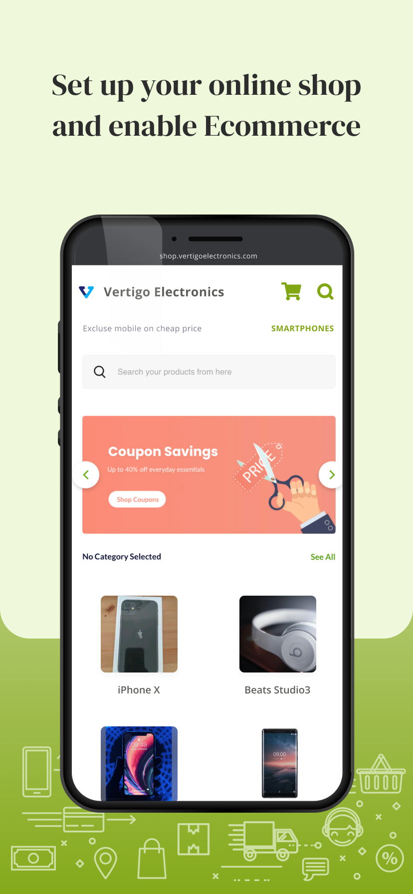 Create your online store and enable ecommerce and hyper-local delivery to customers near you.