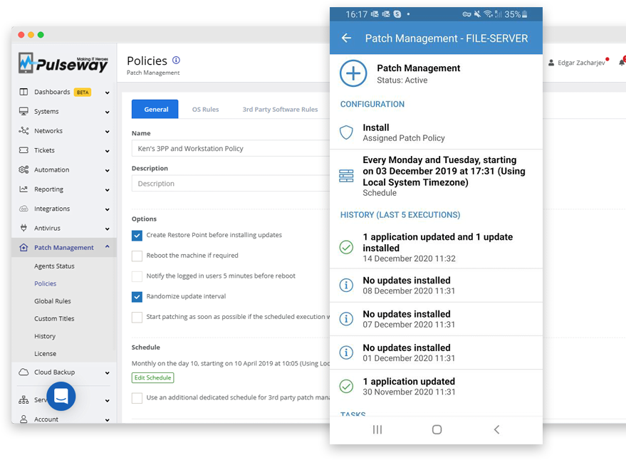 Pulseway Software - Powerful and Easy to Use Patch Management with OS&3rd Party Patch Policies