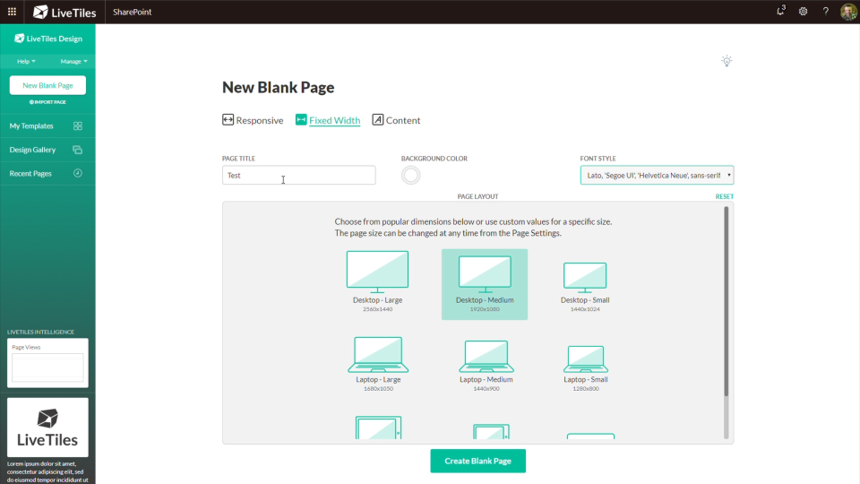 LiveTiles new blank pages screenshot