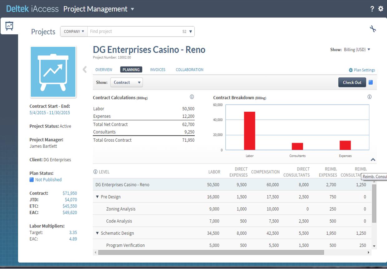 Deltek Vision project planning