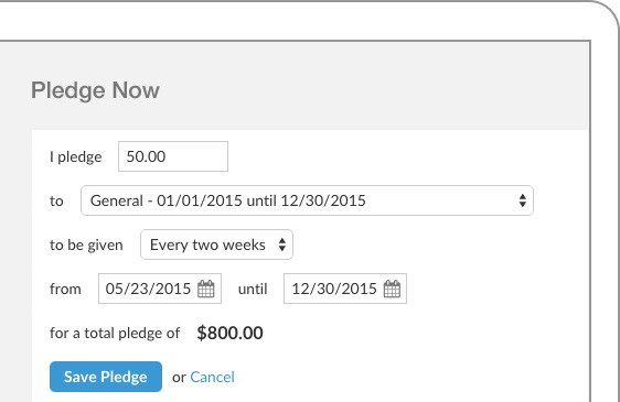 Donors have multiple giving options with Realm, and multiple payment types can be accepted