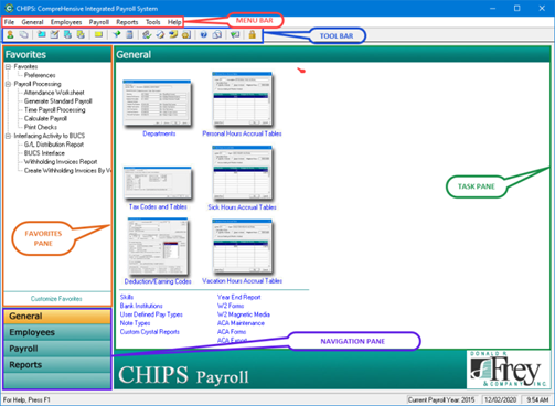 CHIPS home screen, navigate to any payroll based task/action you need to perform!