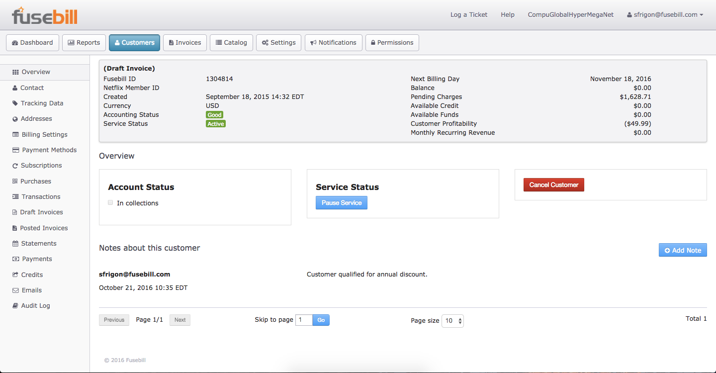 Fusebill Subscription Billing Software - Invoices