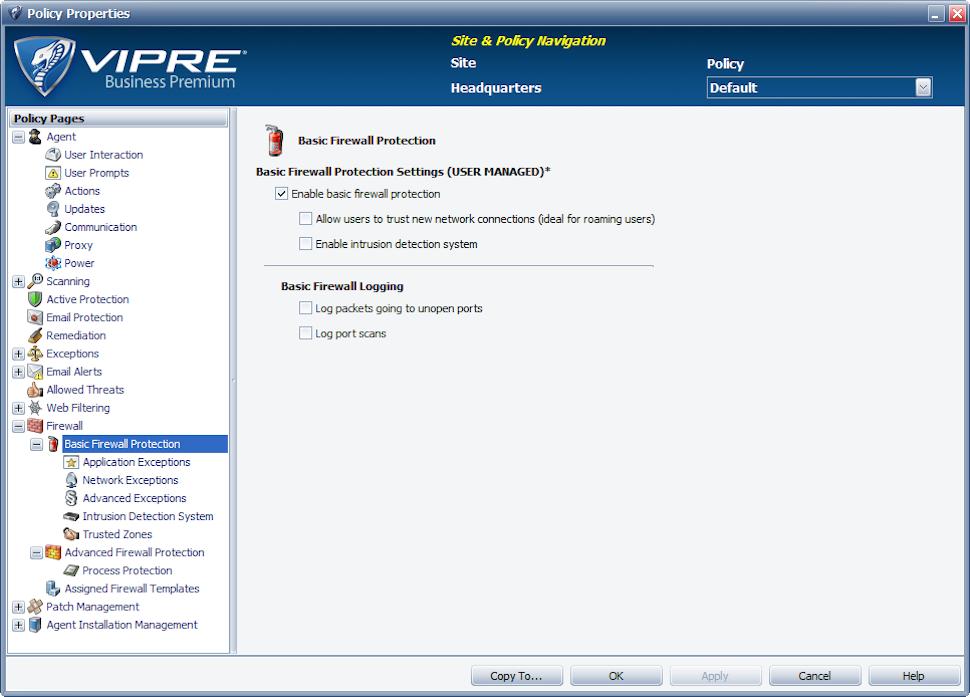 VIPRE Antivirus Business Software - Firewall settings