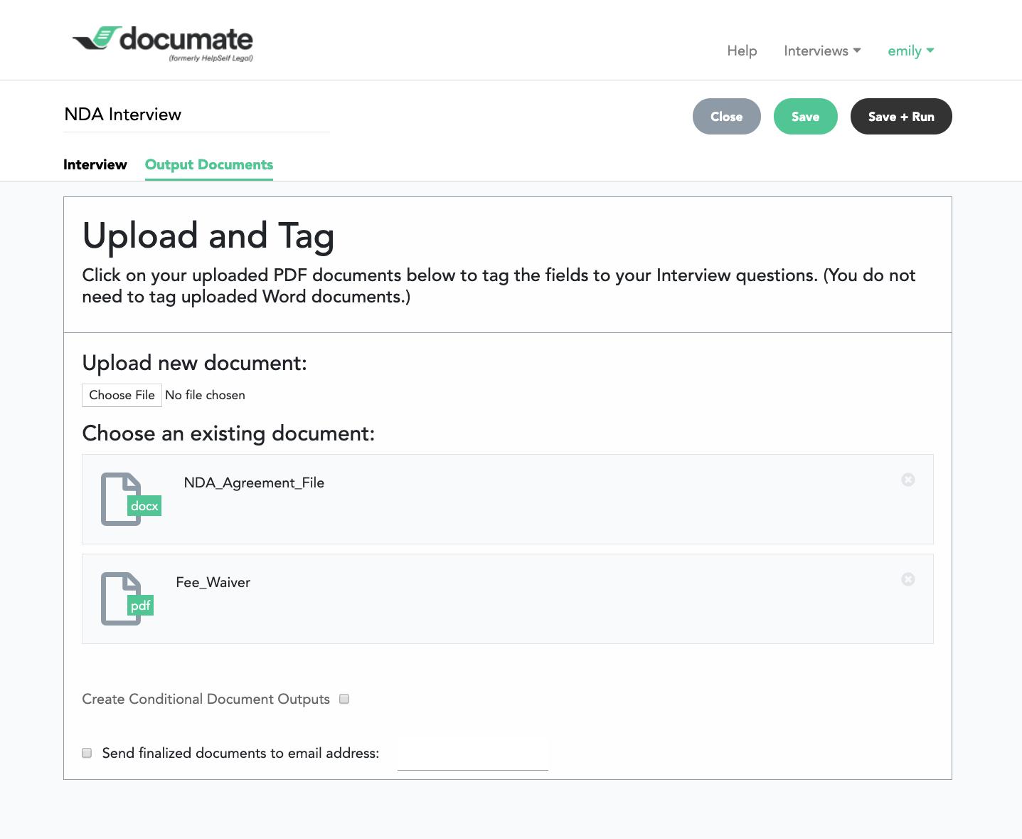 Documate output documents