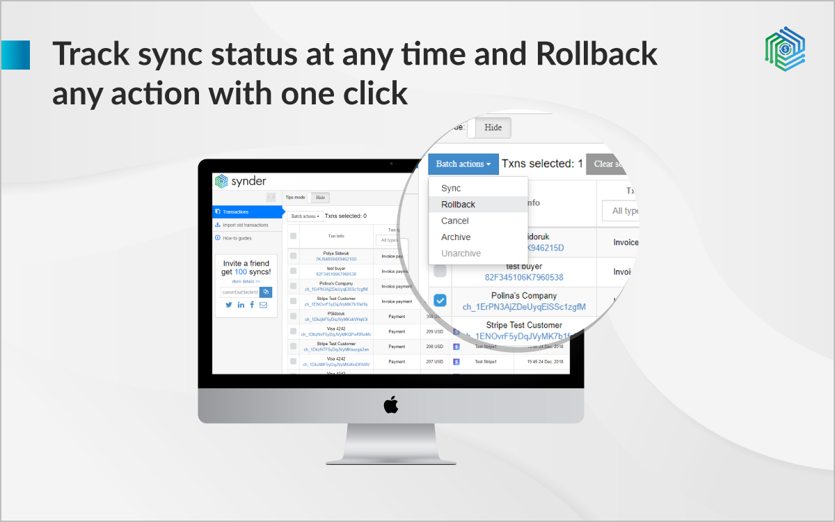 Synder Software - Control your transactions and undo any in a click