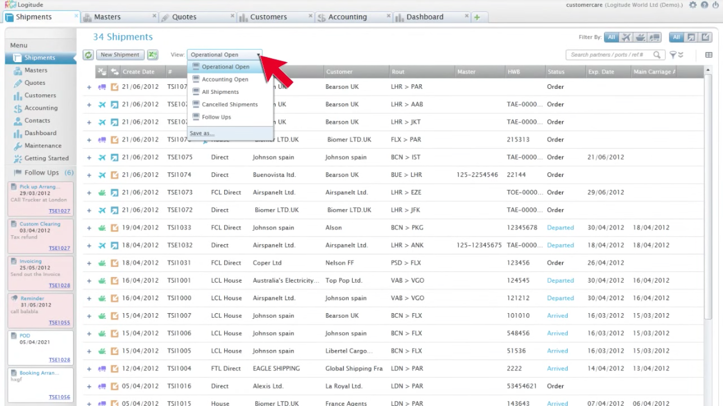 The default view provides access to all shipments, their status, and more