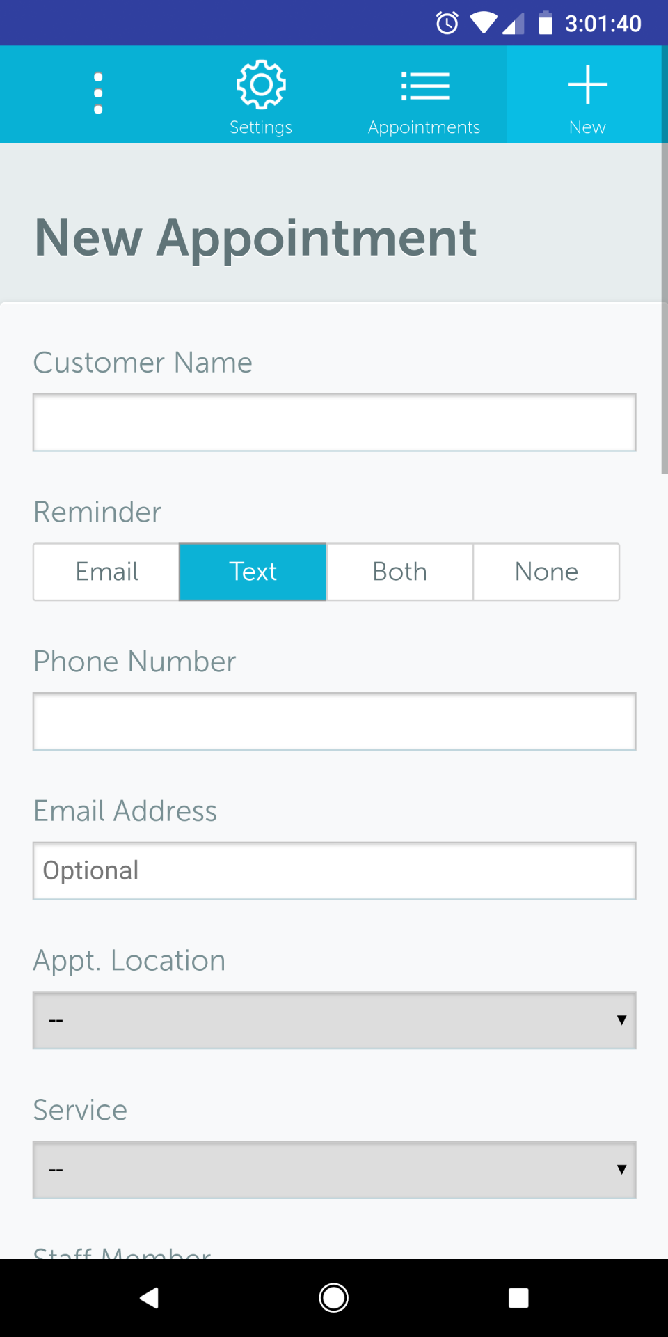 Appointment reminders can be setup to be sent via SMS or email, both, or none