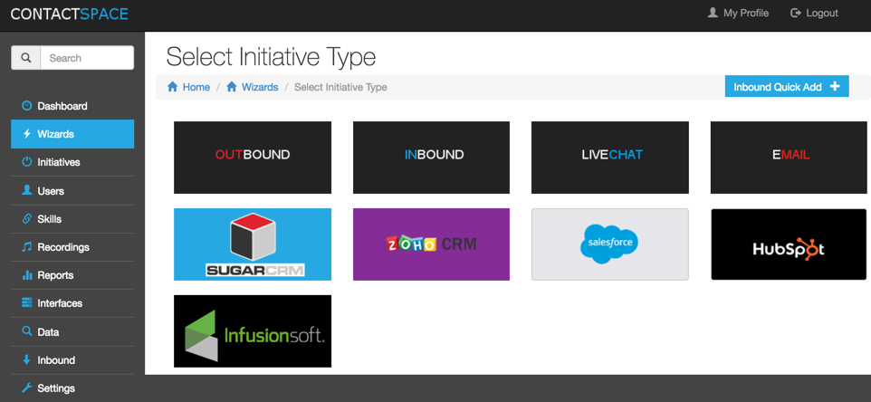 Multiple initiative types are supported, including inbound, outbound, and blended campaigns